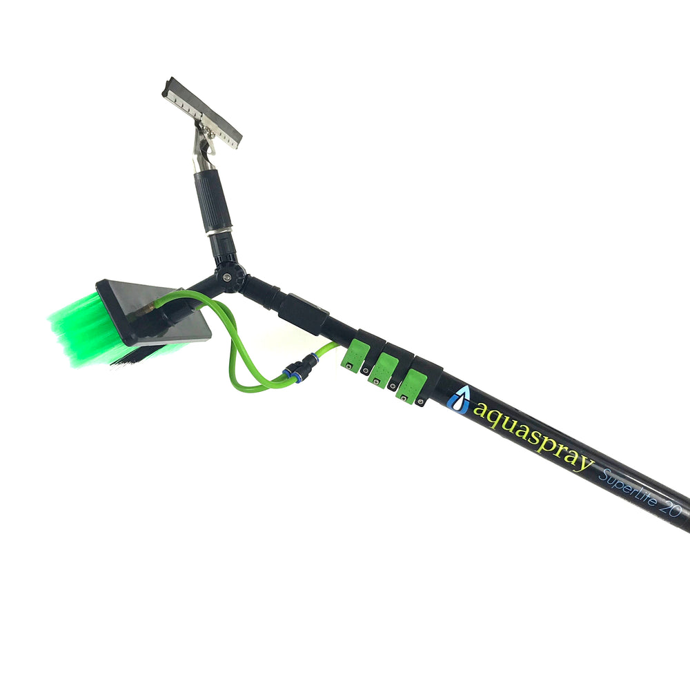 AquaSpray Water Fed Pole Kit for Window or Solar Cleaning (20 Foot Reach) with Double Gooseneck.