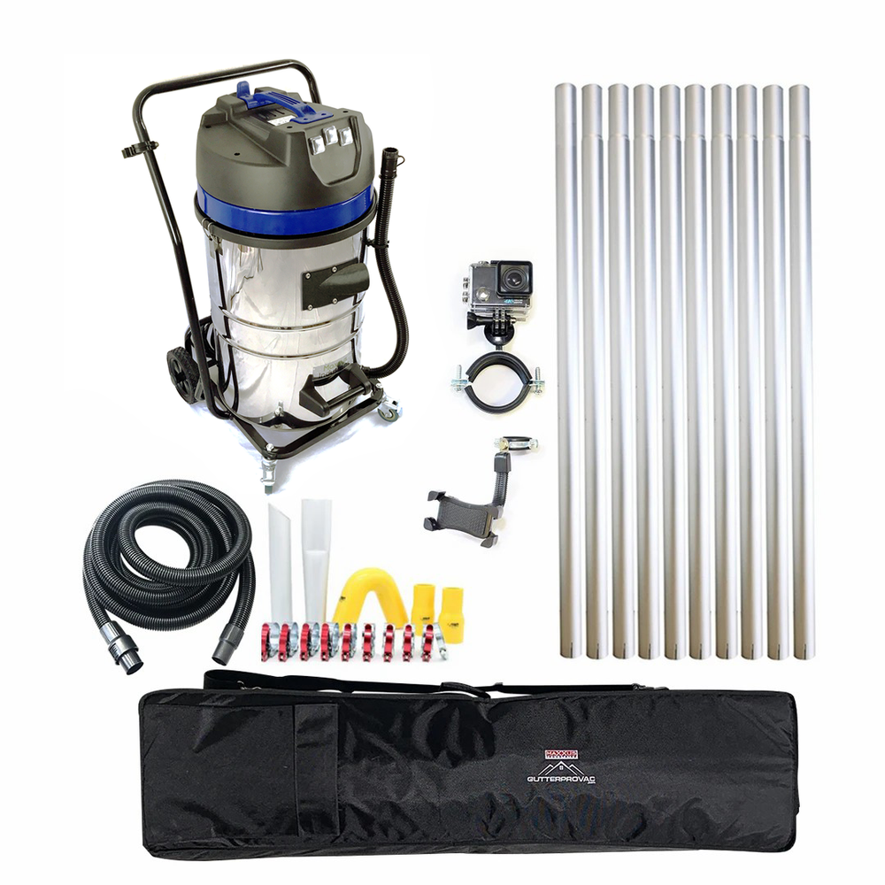 40ft (3 Story) Gutter Vacuum Cleaning System, 20 Gal, Vacuum, Inspection Camera and Bag (Bundle Discount)