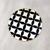 round placemat, capiz shell, material, black, white, tye tye, singapore, tablemat, placemat, dining mat, exclusive designs, easy to clean, maintain, wipe, lasting, bespoke,
