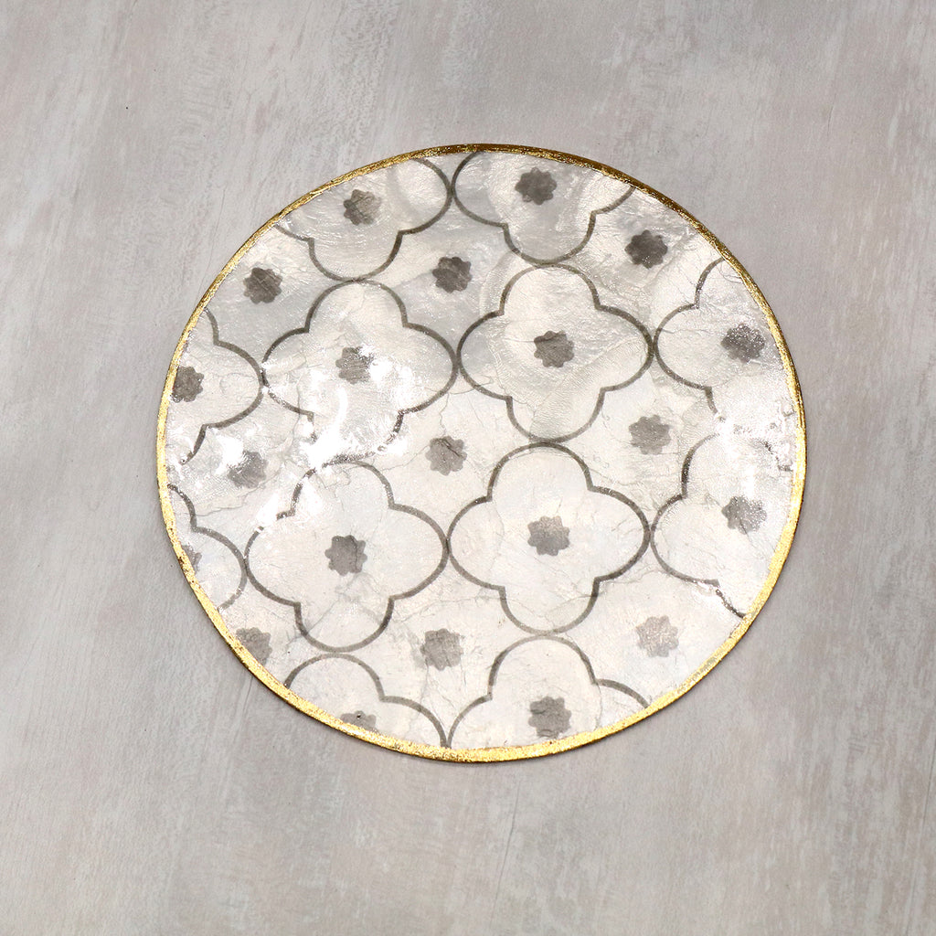 shell capiz, material, white, gold trimming, round, table mat, tablemat, placemat, dining mat, singapore, tye tye, easy to clean,