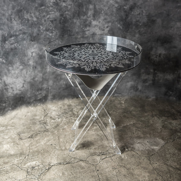 Acrylic Mandala  Black & White Tray Tables