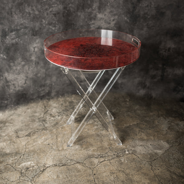 Acrylic Mandala  Red & Black Tray Tables