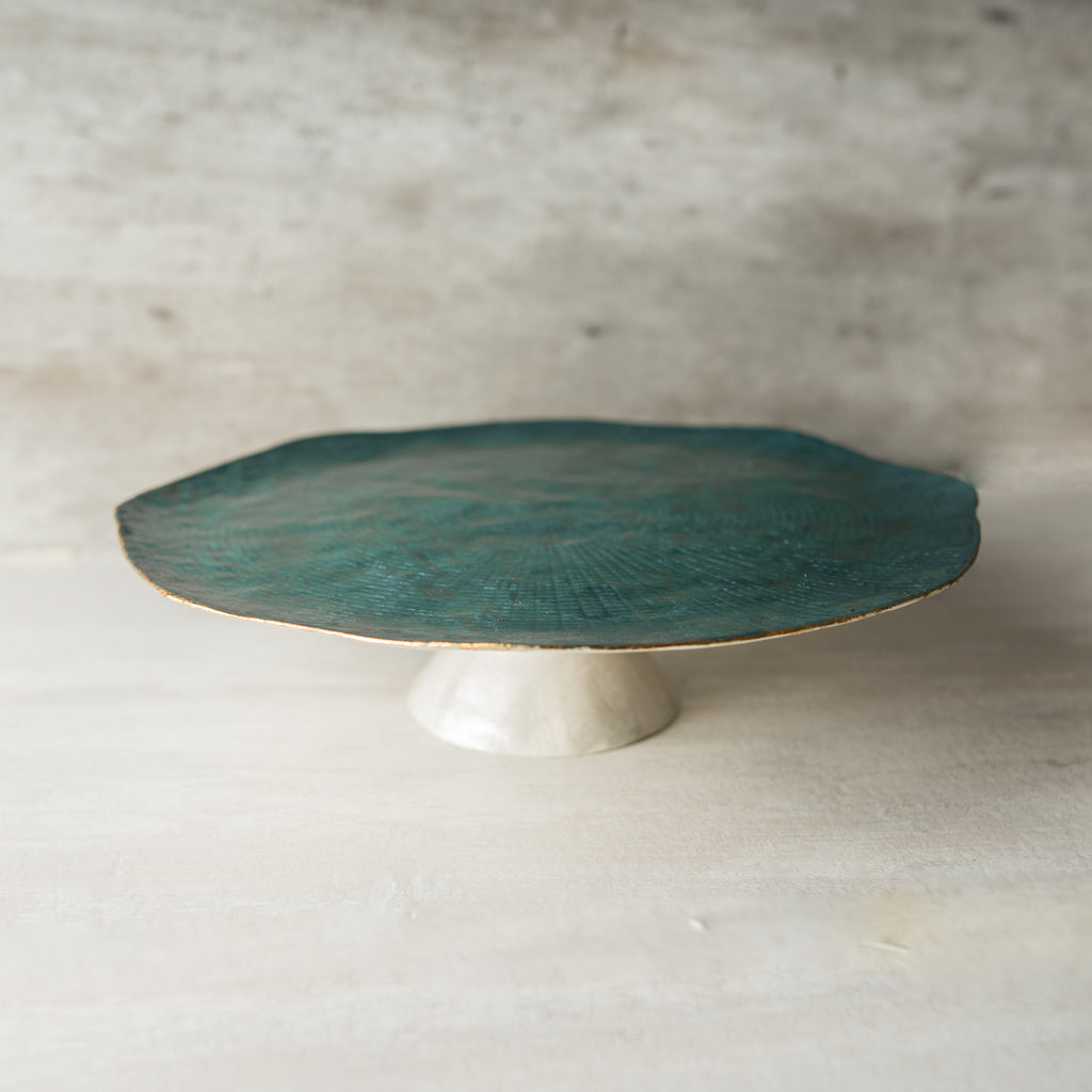 Teal Shell Cake Stand