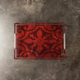 Acrylic  Red Ikat Tray Tables