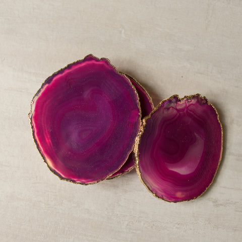 Pink Agate Coaster (6 Pcs/set)