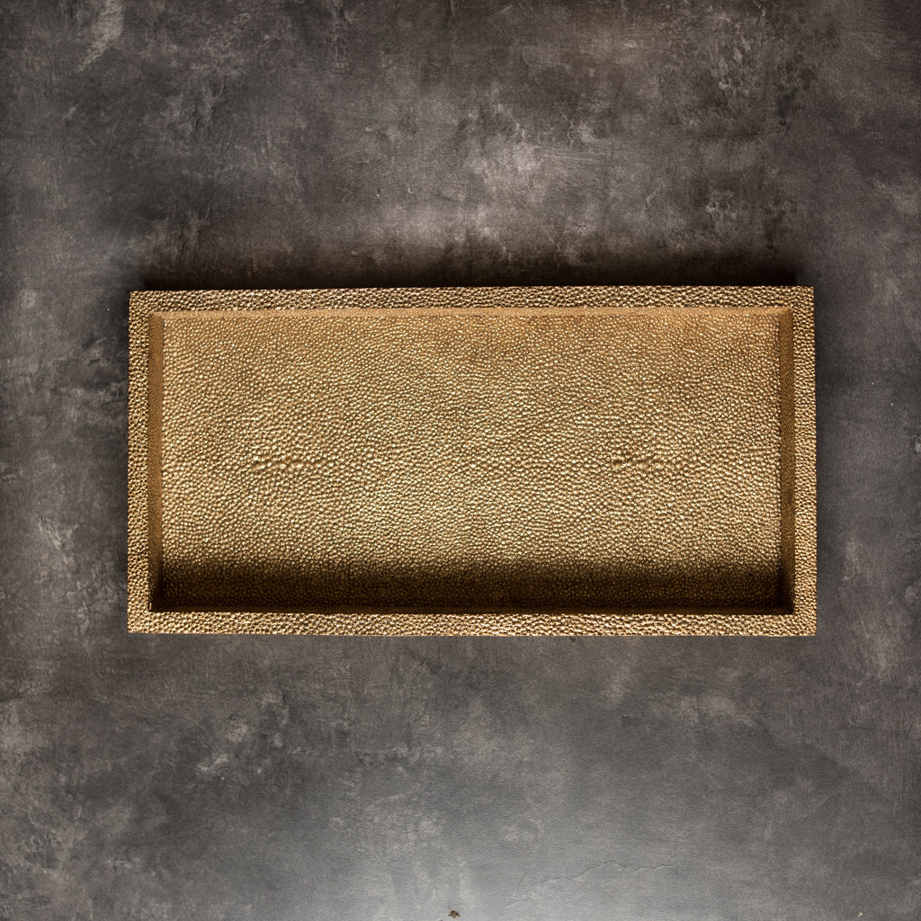 Luxor Faux Shagreen Rectangle Gold (S)