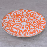 ceramic, side plate, cake plate, cheese plate, orange, oriental, turkish, white, middle eastern design, flower, tye tye, singapore