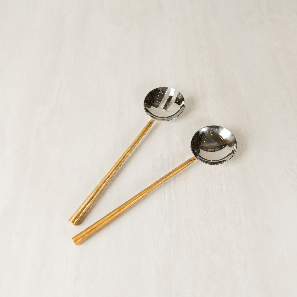 Luna Serving Spoon with Gold Handle
