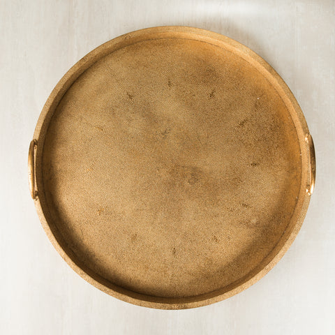 Cleo  Faux Shagreen Round Gold Tray  (L)