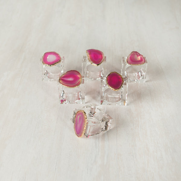 Agate Napkin Rings pink (set of 6)