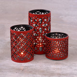 Candle holder Glass Red Set