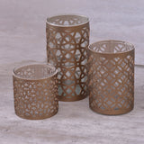Candle holder Glass Gold Set