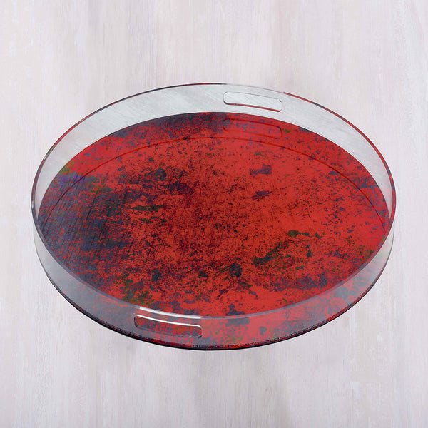 Acrylic Round Red Abstract Large Tray