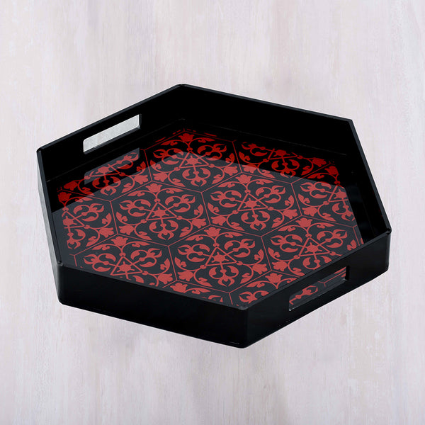 Chinoiserie Print Hexagon Tray