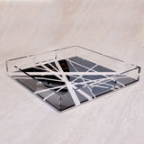 Acrylic Black and White Minimalistik Square Tray (S)