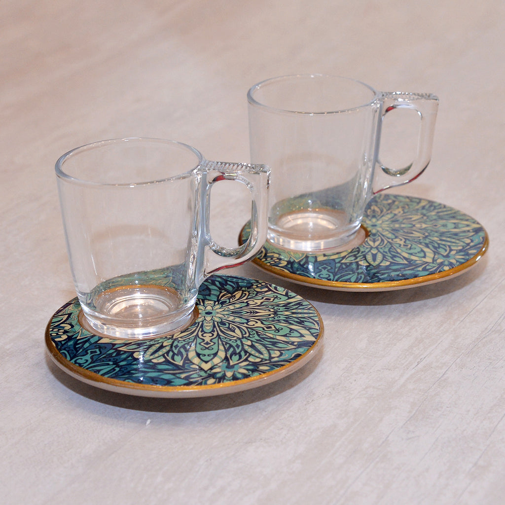 Iznik Art series Ceramic Coffee Set  (Set of 2)