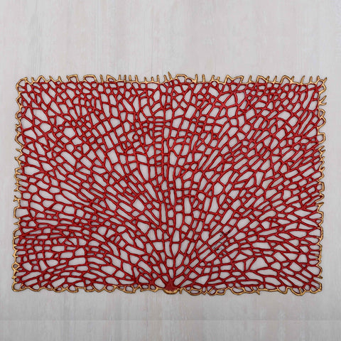 Vines Red & Gold Rectangle Placemat