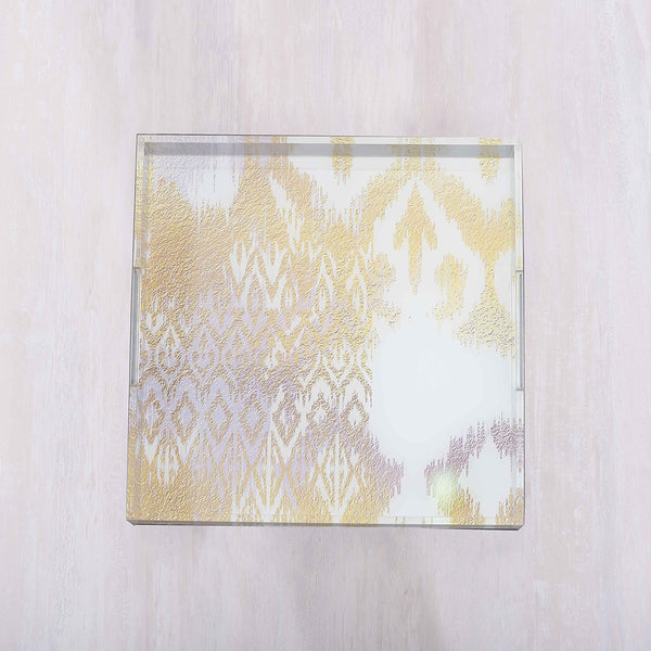 Ikat White and Gold Square Small Tray