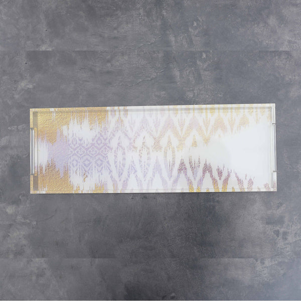 Ikat White and Gold Slim Tray