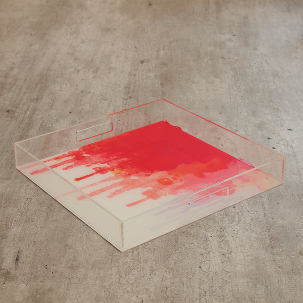 Acrylic Square Red Drop Tray (S)