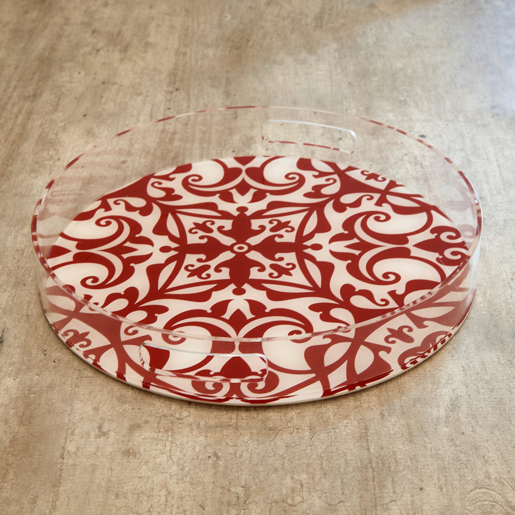 Acrylic Chinoiserie Print Round Tray(M)