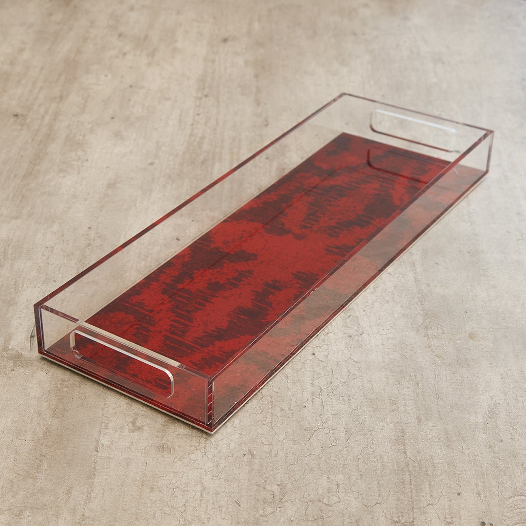 Acrylic Red Ikat Slim Tray