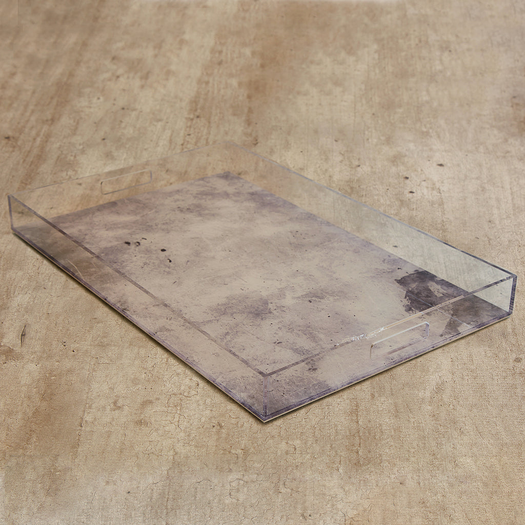Acrylic Concrete Finish Rectangle Tray Tables