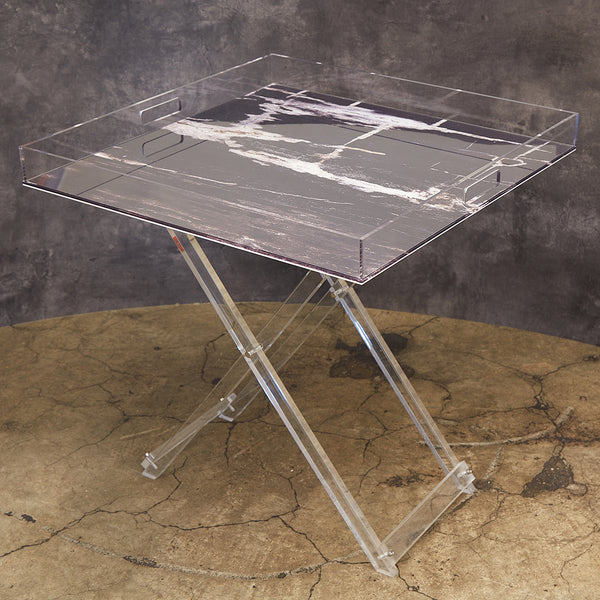 Acrylic  Petrified Wood Look Square Tray Tables