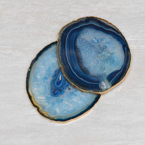 Agate Wine Coaster Blue