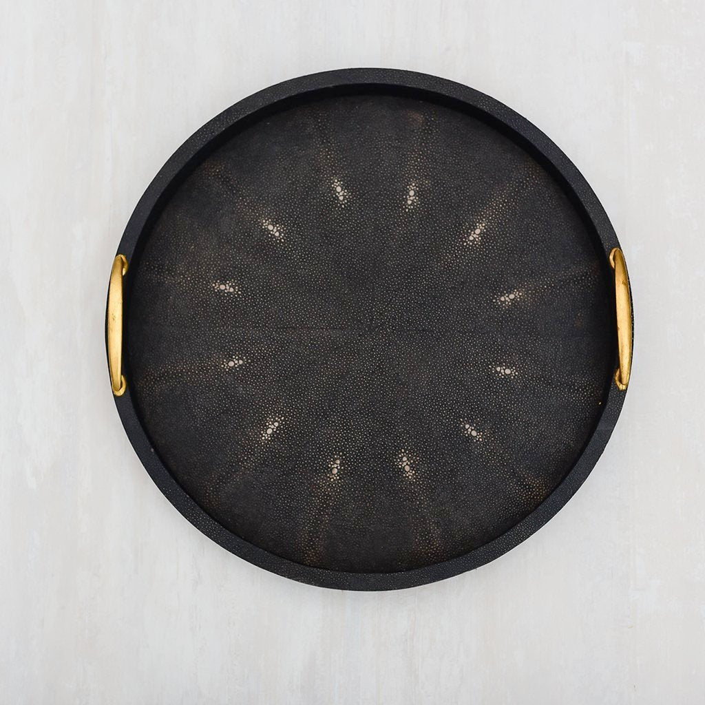Cleo  Faux Shagreen Round Black  Tray (M)