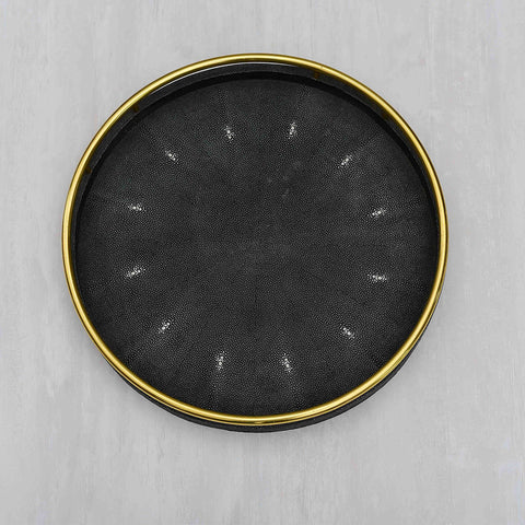 Celeste Faux Shagreen Round with Brass Ring Handle Black Tray (L)
