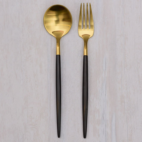 Kontempo Black & Gold Dessert Fork and Spoon set