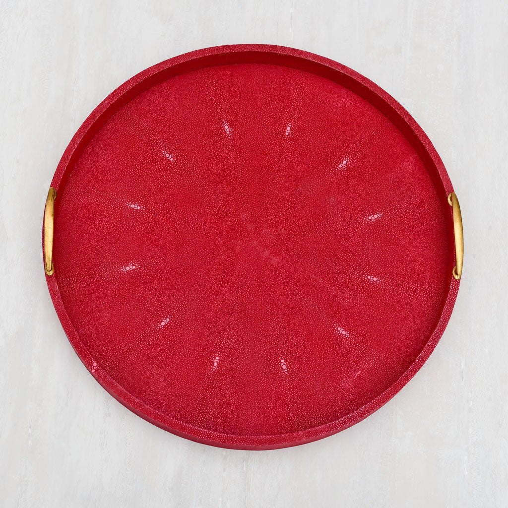 Faux Shagreen, Round, Brass Handle, Red, Large, tray, serving, drinks, coffee, tea, table, exclusive design, formal,