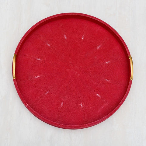 Cleo Faux Shagreen Round Red Tray (L)