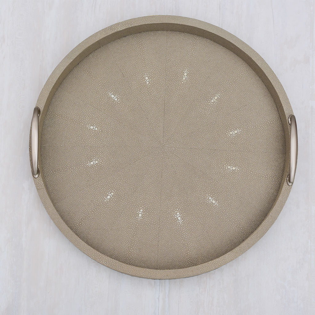 Faux Shagreen Round with Brass Handle Taupe Large