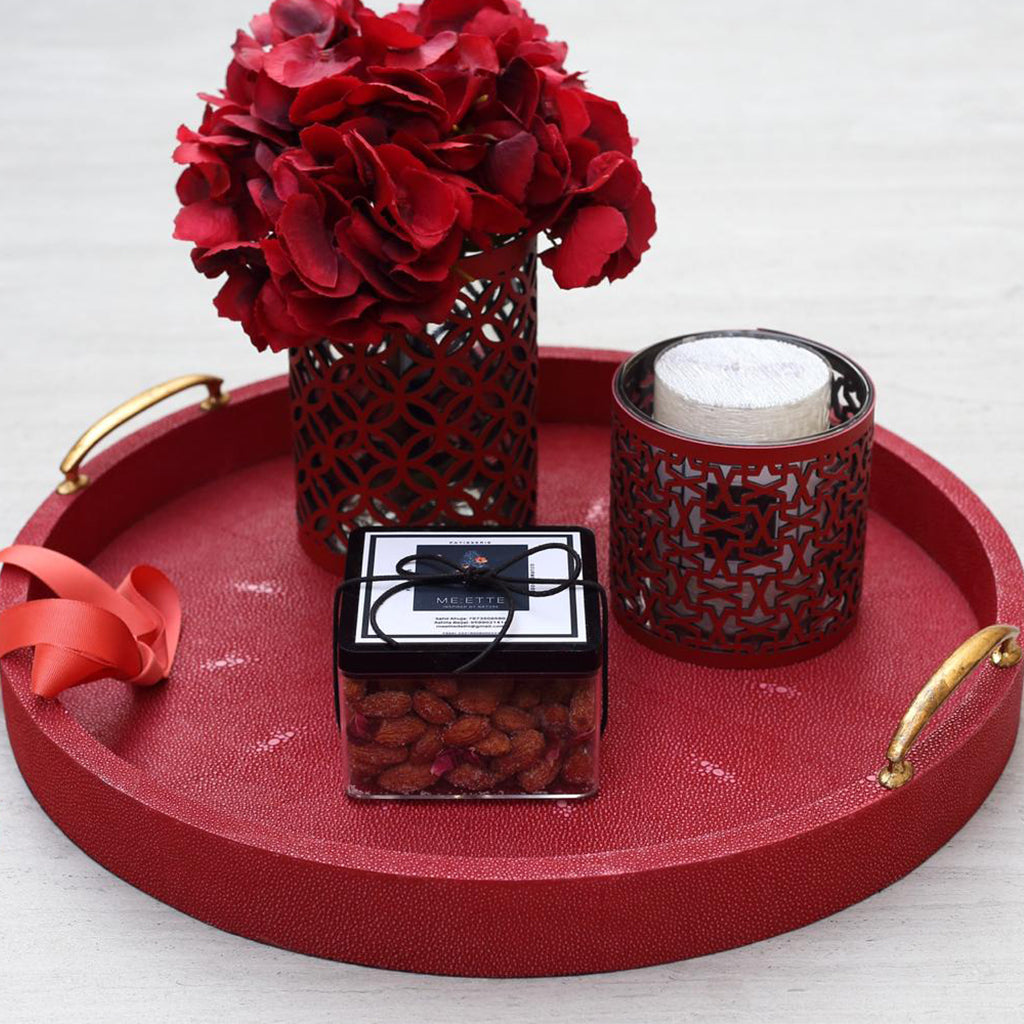 Cleo Shagreen Red Round Tray  with Candlestand