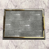 Aries Faux Shagreen Rectangle Dark Grey Tray