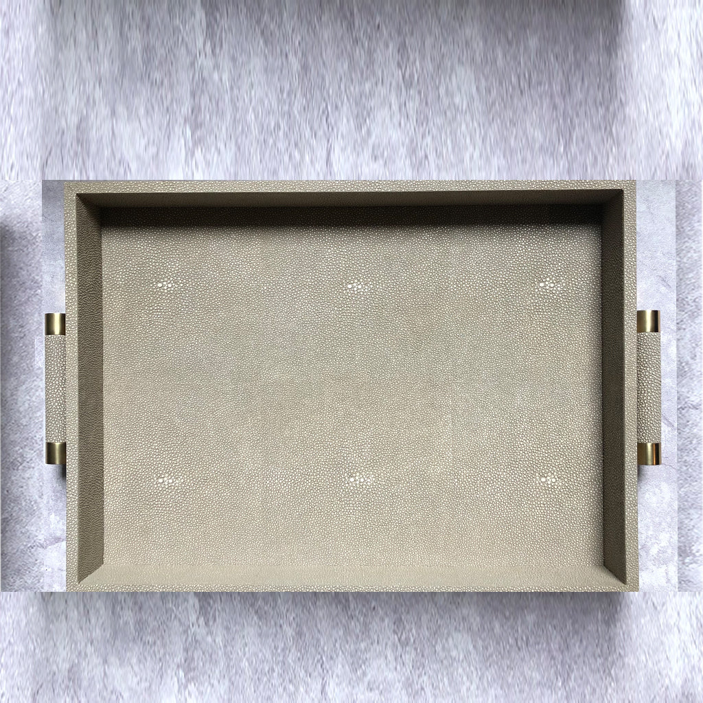 Luxor Shagreen Taupe Serving Tray