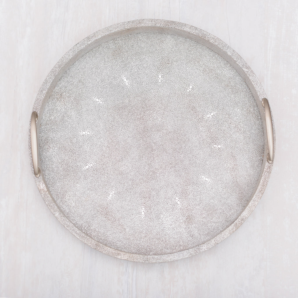Cleo  Faux Shagreen Round Silver Tray  (M)