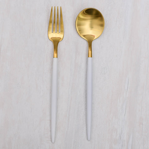 Kontempo White & Gold Dessert Spoon and Fork Set