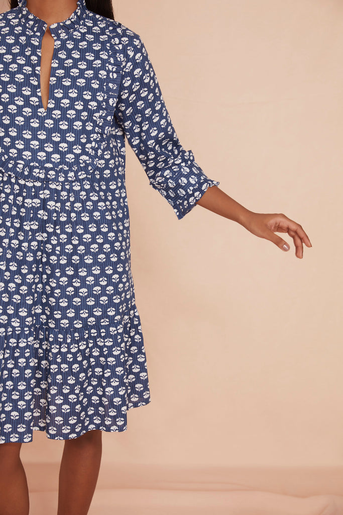 THE FRILLED BELLA DRESS | Indigo Flower Cotton
