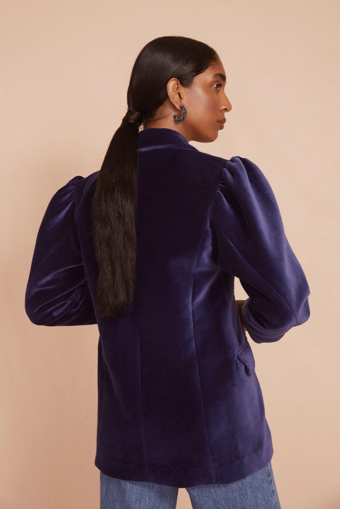 THE TUX JACKET | Navy Blue Cotton Velvet