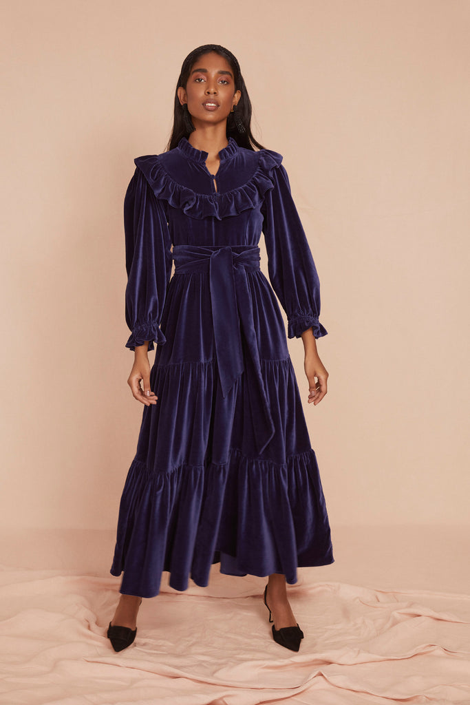 THE RUFFLE DRESS | Navy Blue Cotton Velvet