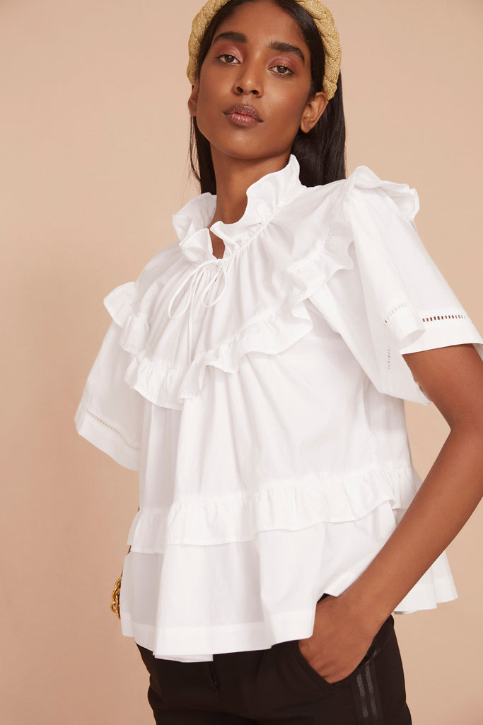 THE TIERED BLOUSE | True White Cotton Poplin