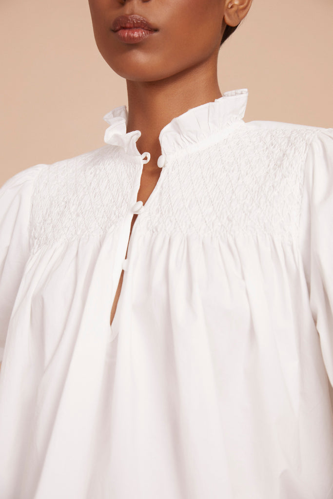 THE CUPHIA BLOUSE | Brilliant White Cotton Poplin