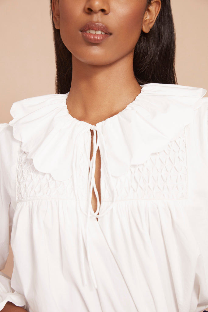 THE PETAL BLOUSE | True White Cotton Poplin