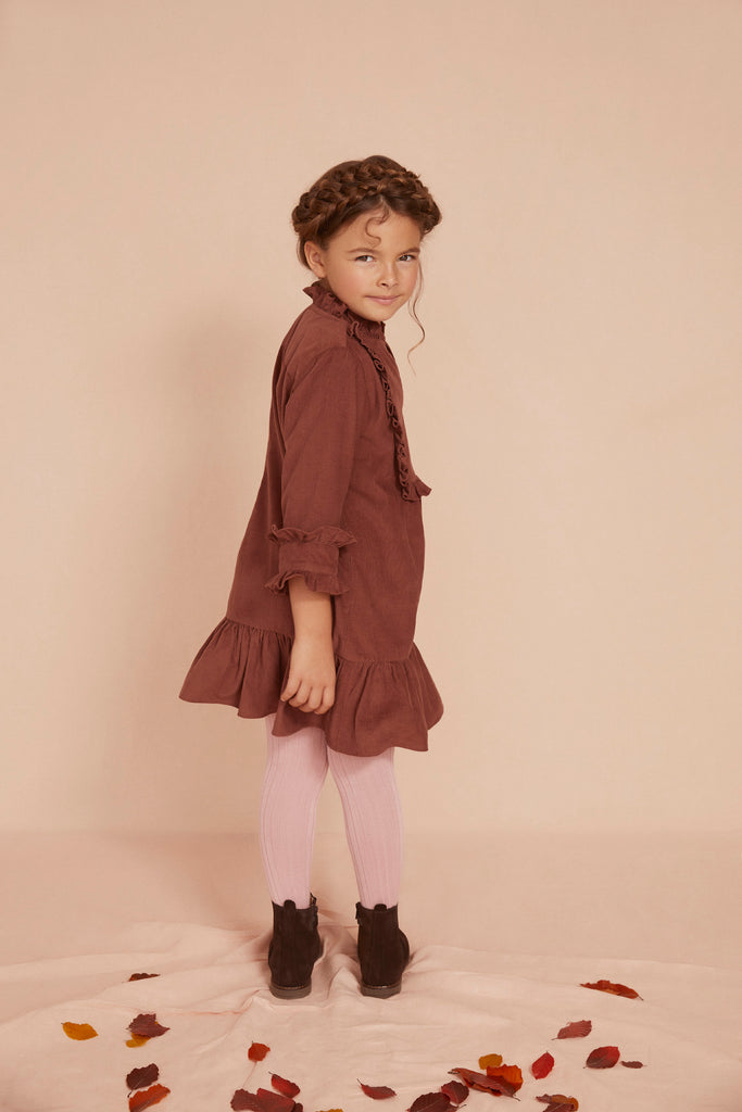 THE LITTLE BELLA FRILL DRESS | Cognac Brown Baby Thin Corduroy