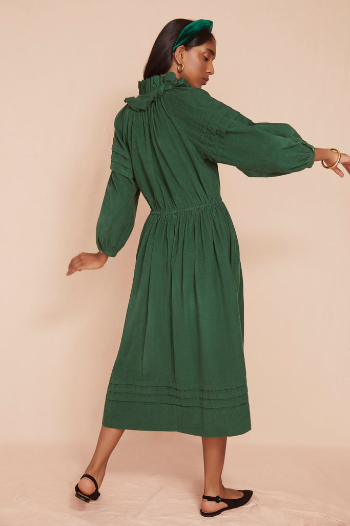THE PLEAT DRESS | Fern Green Baby Thin Corduroy (Pre Order)