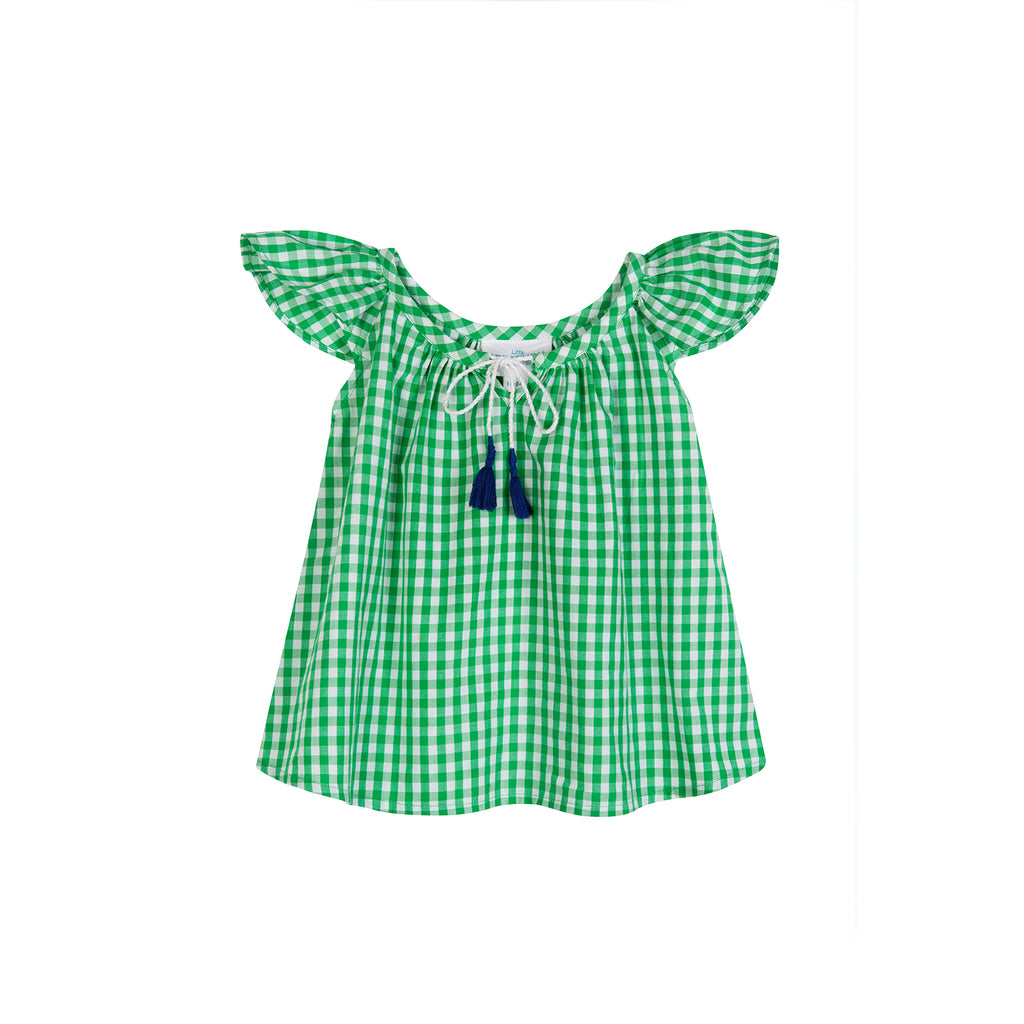 LITTLE FLUTTERBY BLOUSE GREEN CHECK GINGHAM