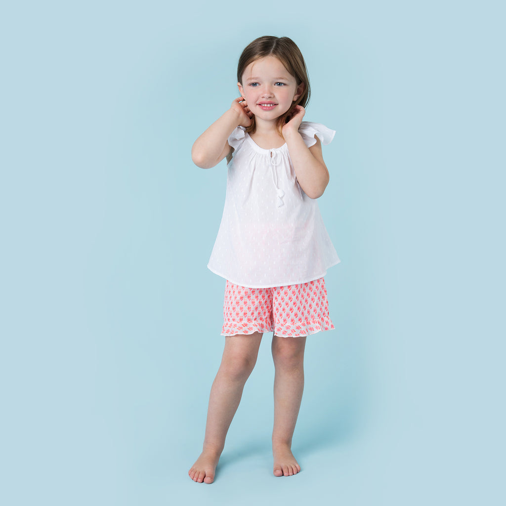 LITTLE FLUTTERBY BLOUSE WHITE SWISS DOT COTTON